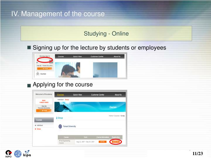 IV. Management of the course