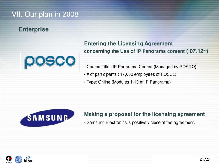 VII. Our plan in 2008
