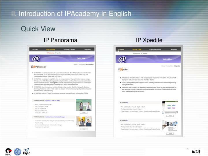 II. Introduction of IPAcademy in English
