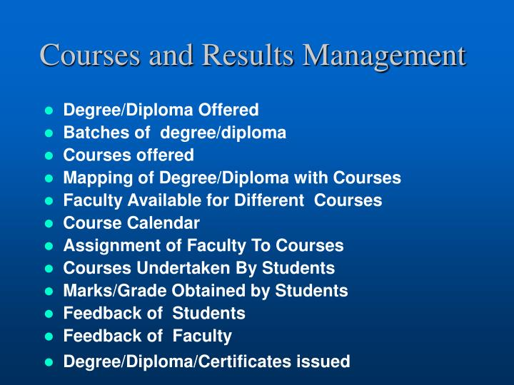 Courses and Results Management