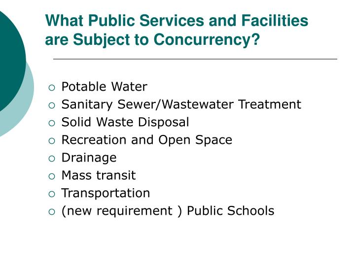 What Public Services and Facilities are Subject to Concurrency?