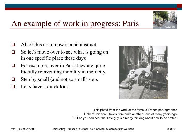 An example of work in progress: Paris