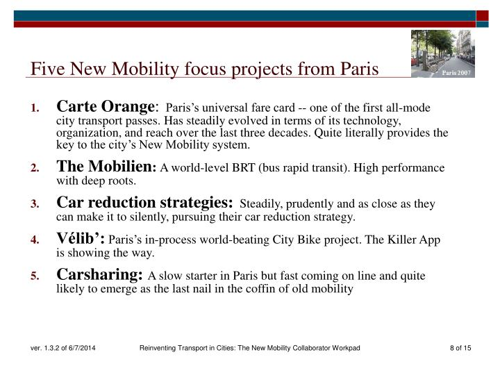 Five New Mobility focus projects from Paris