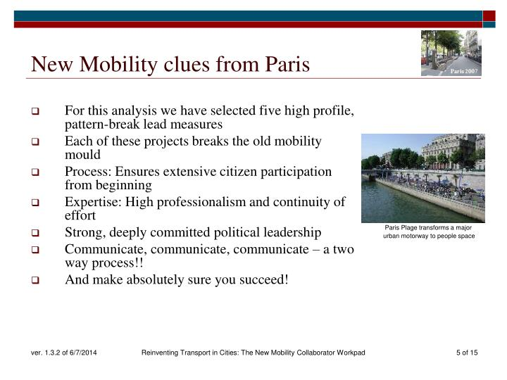 New Mobility clues from Paris