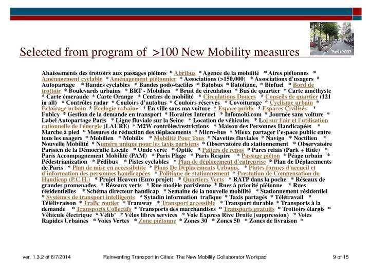 Selected from program of  >100 New Mobility measures