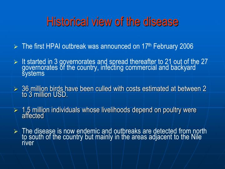 Historical view of the disease