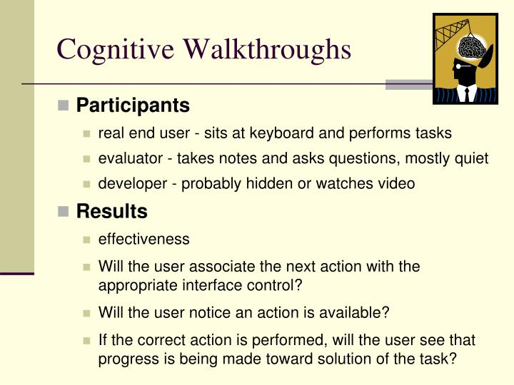 Cognitive Walkthroughs