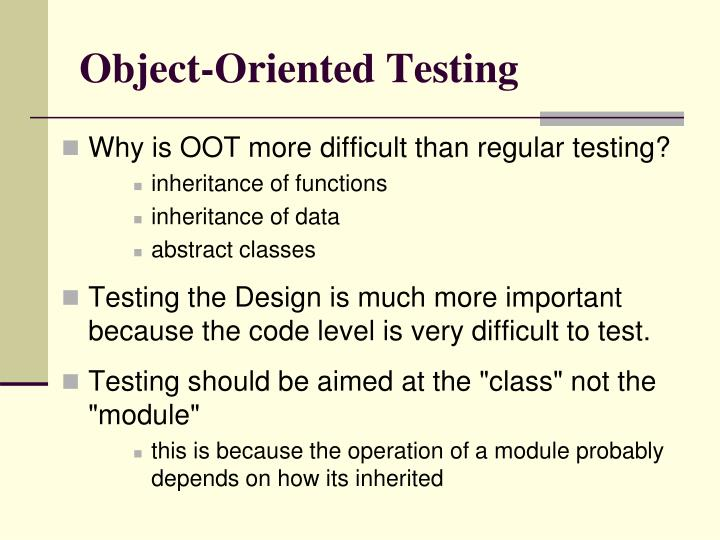 Object-Oriented Testing