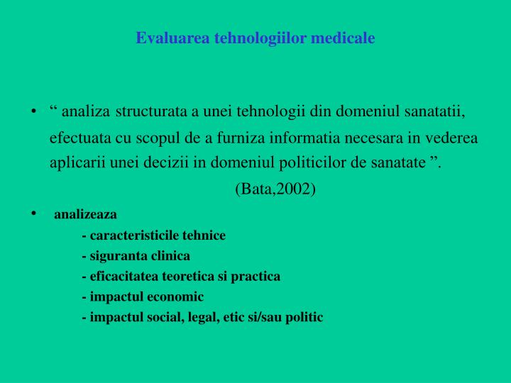 Evaluarea tehnologiilor medicale
