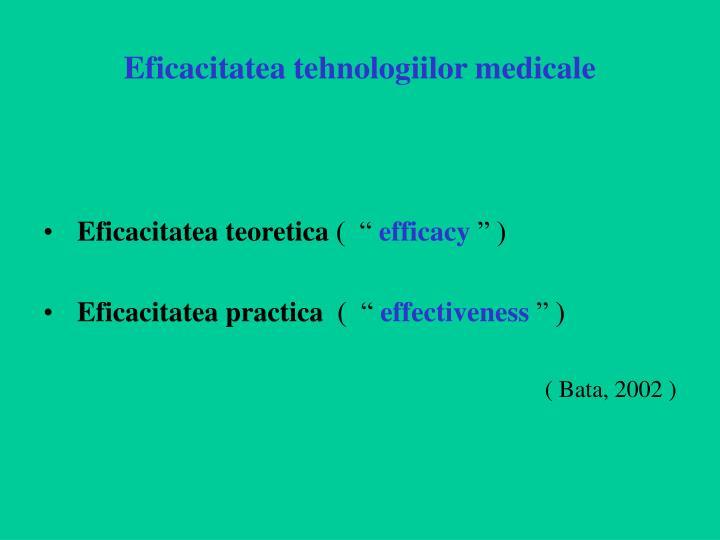 Eficacitatea tehnologiilor medicale