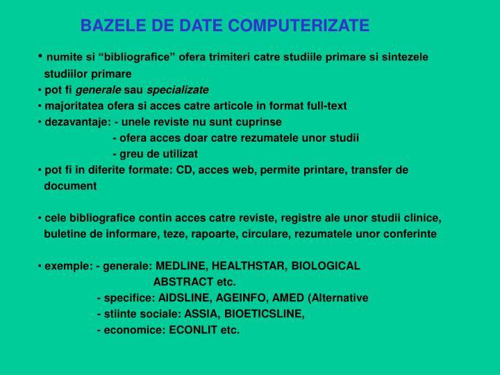 BAZELE DE DATE COMPUTERIZATE