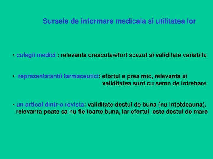 Sursele de informare medicala si utilitatea lor