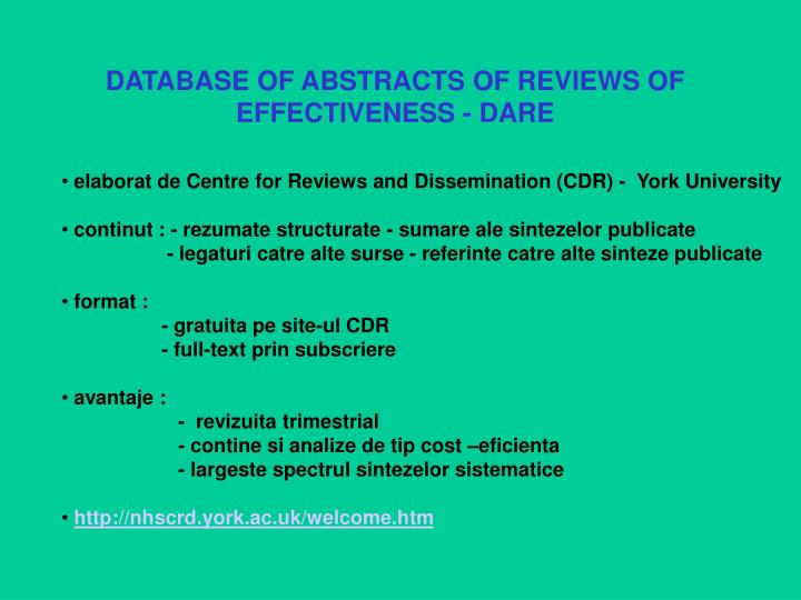 DATABASE OF ABSTRACTS OF REVIEWS OF