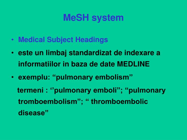 MeSH system