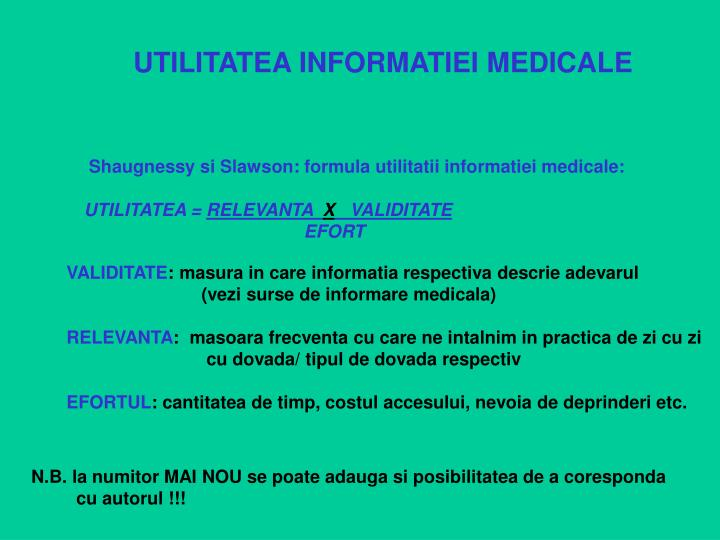 UTILITATEA INFORMATIEI MEDICALE