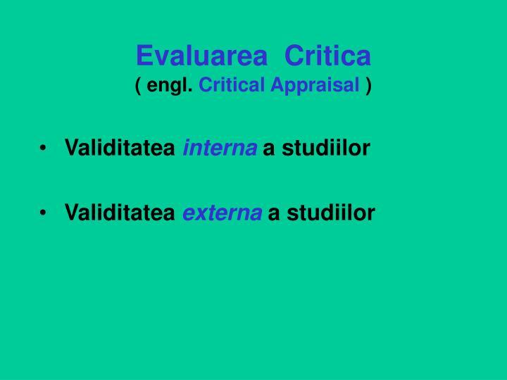 Evaluarea  Critica