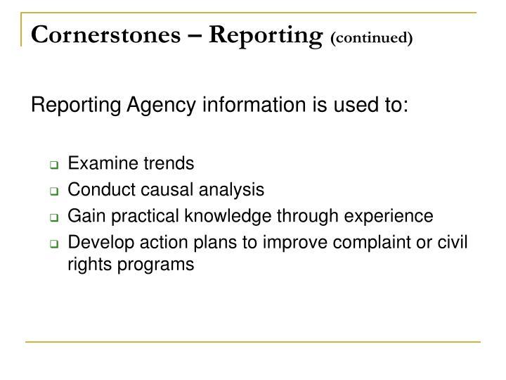 Cornerstones – Reporting