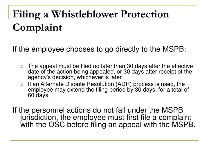 Filing a Whistleblower Protection Complaint