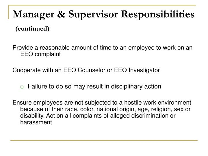 Manager & Supervisor Responsibilities