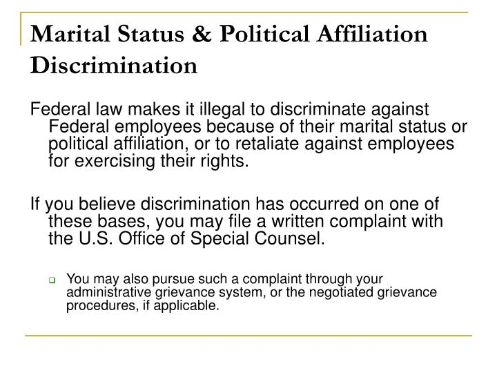 Marital Status & Political Affiliation Discrimination
