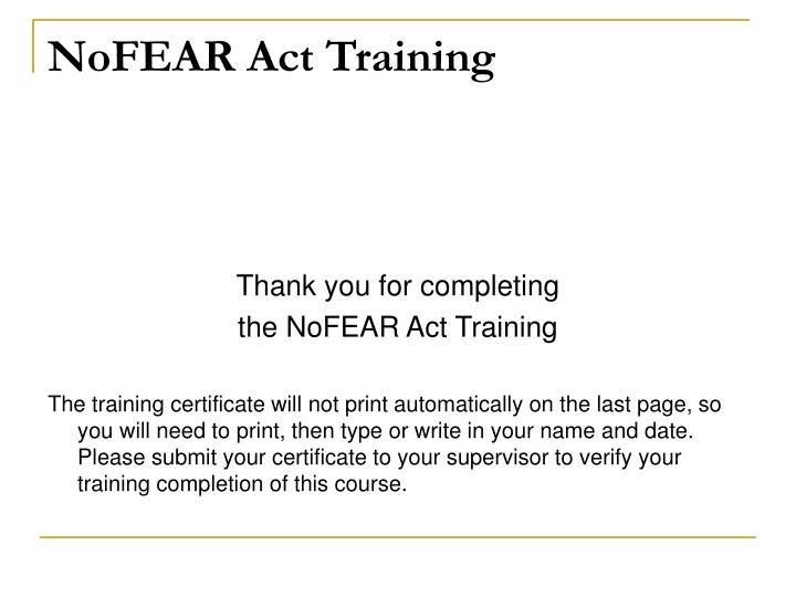 NoFEAR Act Training