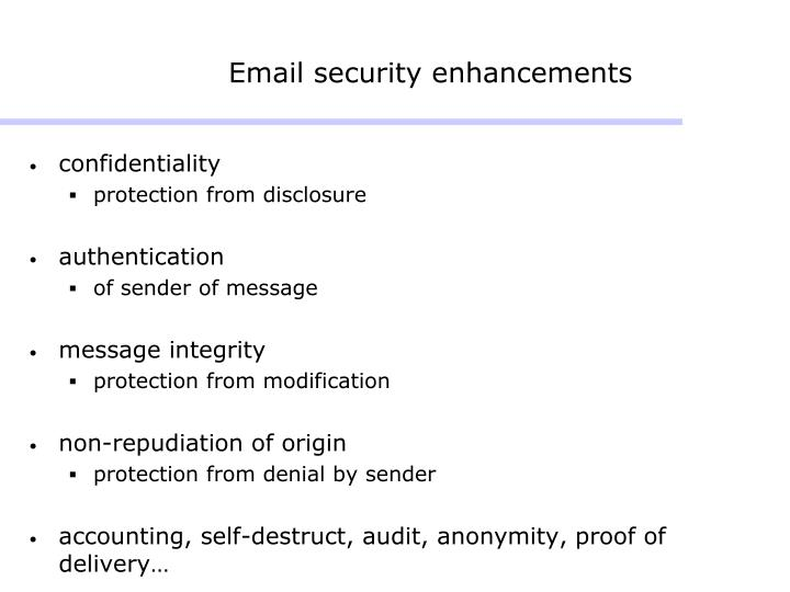 Email security enhancements