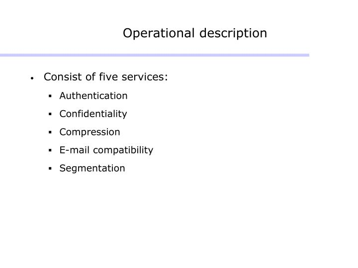 Operational description