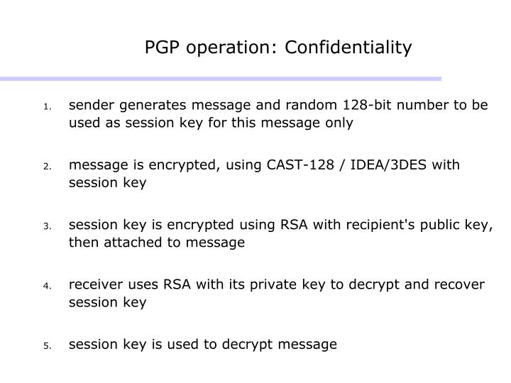 PGP operation: Confidentiality