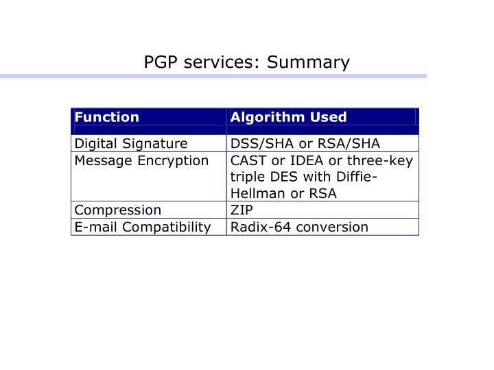 PGP services: Summary