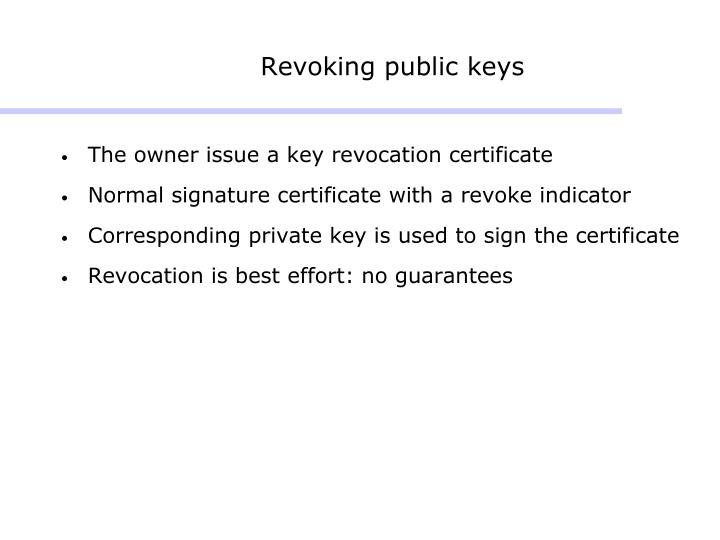 Revoking public keys