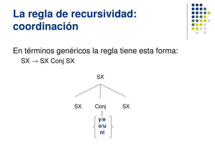 La regla de recursividad:  coordinación