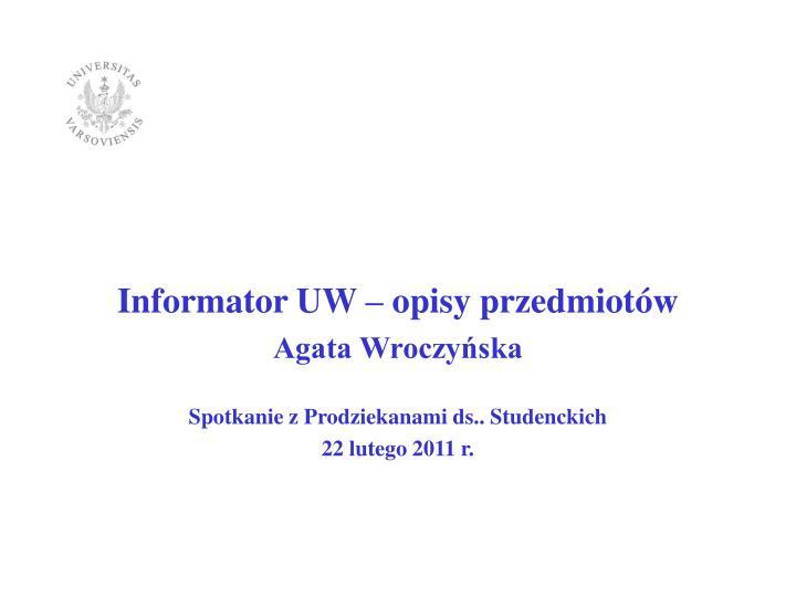 Informator UW – opisy przedmiotów