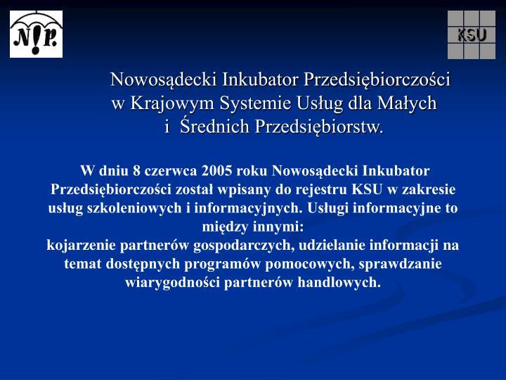 Nowosądecki Inkubator Przedsiębiorczości                    w Krajowym Systemie Usług dla Małych                i