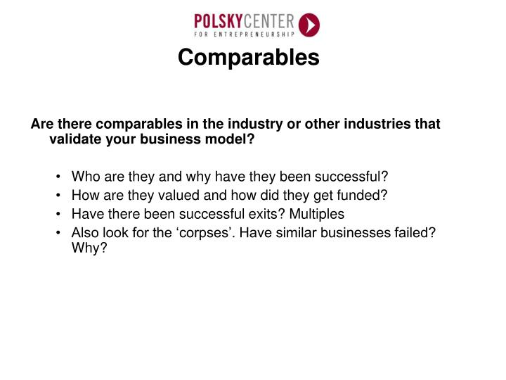 Are there comparables in the industry or other industries that validate your business model?