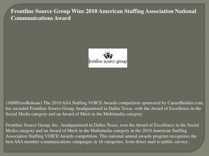 Frontline Source Group Wins 2010 American Staffing Association National Communications Award