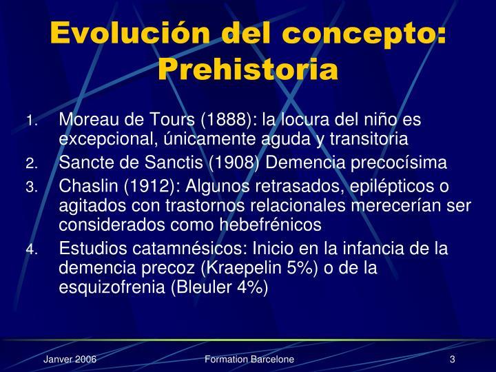 Evolución del concepto: Prehistoria