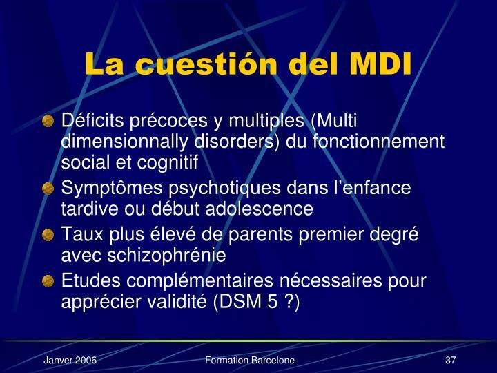 La cuestión del MDI