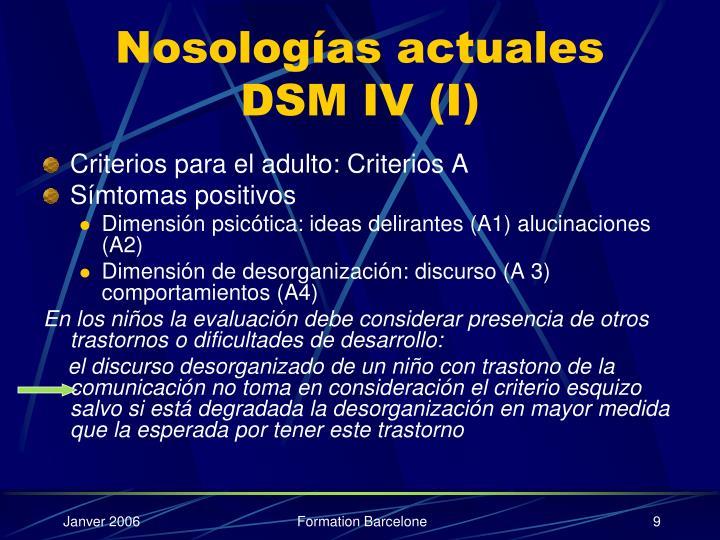 Nosologías actuales DSM IV (I)