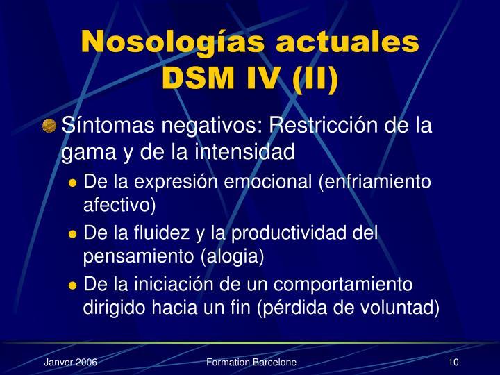 Nosologías actuales DSM IV (II)