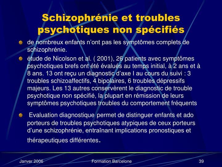 Schizophrénie et troubles psychotiques non spécifiés