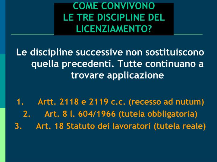 COME CONVIVONO