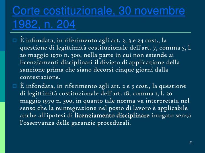 Corte costituzionale, 30 novembre 1982, n. 204