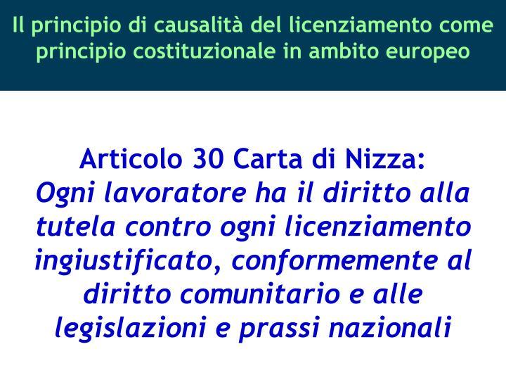 Articolo 30 Carta di Nizza:
