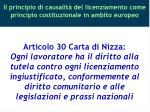 il principio di causalit del licenziamento come principio costituzionale in ambito europeo