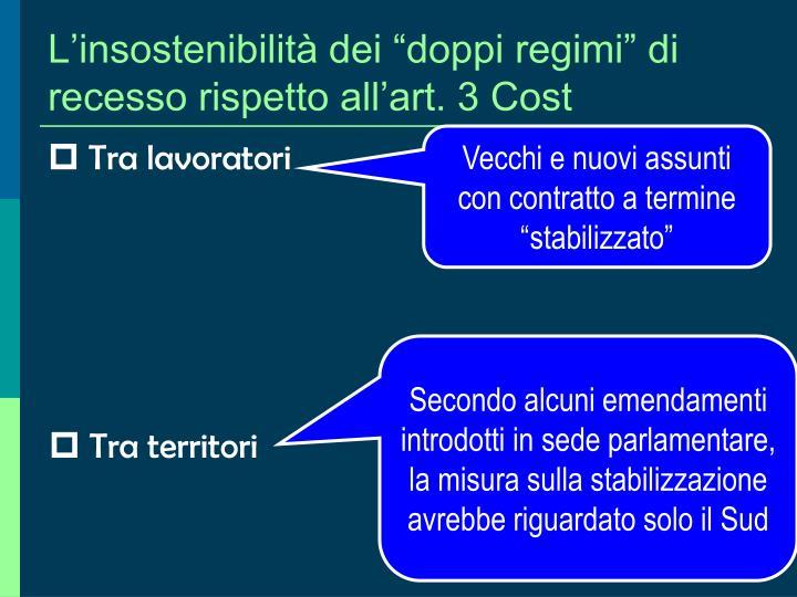 """L'insostenibilità dei """"doppi regimi"""" di recesso rispetto all'art. 3 Cost"""