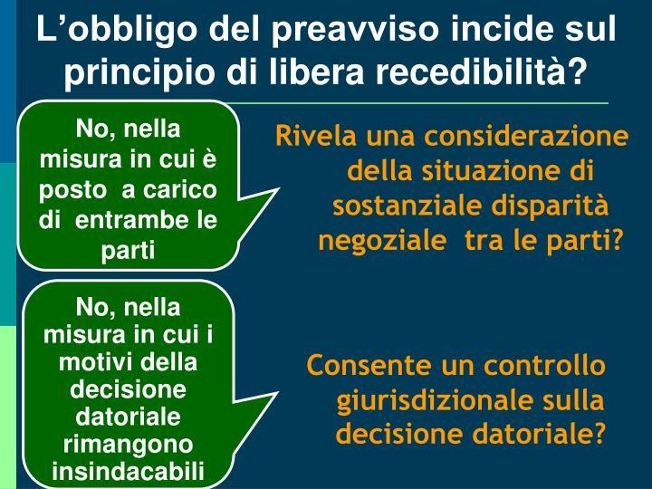 L'obbligo del preavviso incide sul principio di libera recedibilità?