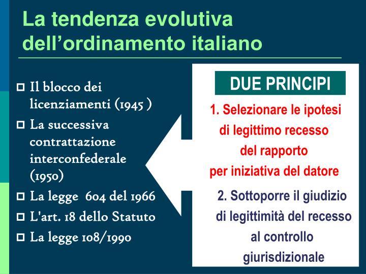 La tendenza evolutiva dell'ordinamento italiano