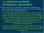 la valutazione giudiziale dell esigenza organizzativa