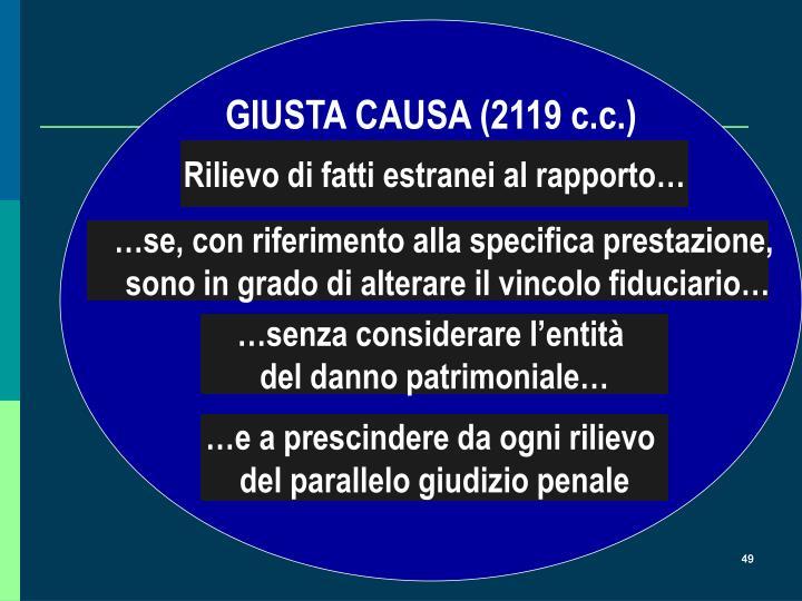 GIUSTA CAUSA (2119 c.c.)