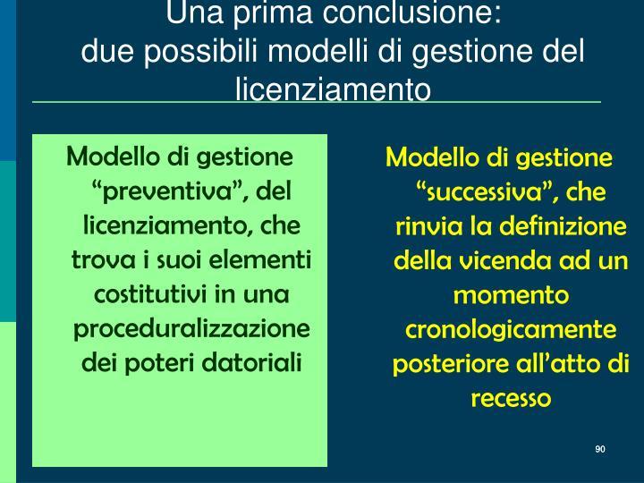 """Modello di gestione """"preventiva"""", del licenziamento, che trova i suoi elementi costitutivi in una proceduralizzazione dei poteri datoriali"""